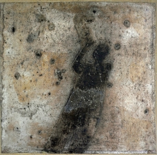<h5>Call It Intangible</h5><p>Oxidized silver leaf, Renaissance Wax on paper on panel, 12 x 12 inches, 2012																																		</p>