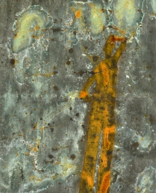 <h5>Shadow Quest</h5><p>Oxidized metallic paint, Renaissance Wax on paper, 9.5 x 8 inches, 2012</p>