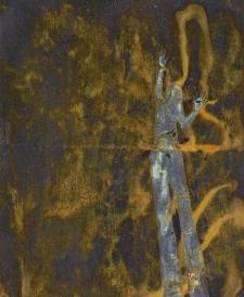 <h5>Shadow Lingua</h5><p>Oxidized metallic paint, Renaissance Wax on paper, 9.5 x 8 inches, 2012</p>