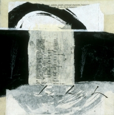 <h5>Somebody/Something Nobody/Nothing, 9/11 collage, papers from the site</h5><p>16 x 16 inches, 2002</p>