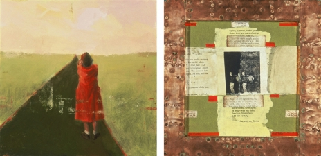 <h5>Red Coat</h5><p>Oil, collage, and copper on double-sided panel, 10 x 10 inches, 2004																																																			</p>