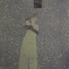 <h5>Hands with Dark Square</h5><p>Monotype and collage on Kitikata paper, 10 x 10 inches, 2013</p>