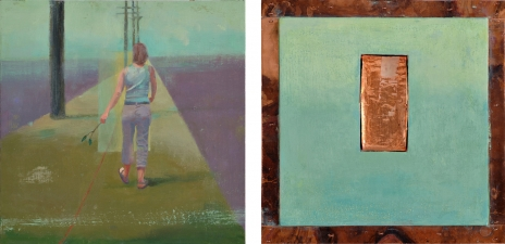 <h5>Sign Posts (front & back)</h5><p>Oil and copper on double-sided panel, 10 x 10 inches, 2007																																																			</p>