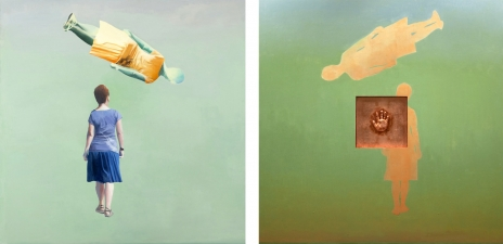 <h5>Floating Double (front & back)</h5><p>Oil, cast object, oxidized copper leaf on double-sided hinged panel, 48 x 48 inches, 2009</p>