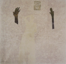 <h5>Ghost with Hands and Ear</h5><p>Monotype and collage on Kitikata paper, 10 x 10 inches, 2013</p>