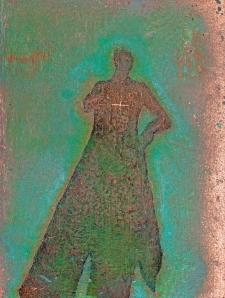 <h5>Plus</h5><p>Oxidized metallic paint, Renaissance Wax on panel, 16 x 12 inches, 2013</p>