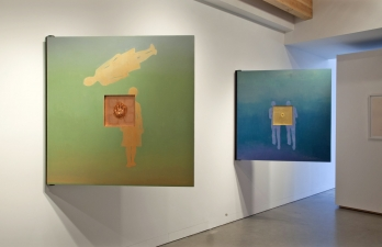 <h5>Prompts Installation, Augen Gallery, Portland, Oregon, 2011</h5><p>Backs of Floating Double and Shadow Double</p>