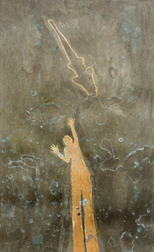 <h5>Shadow Fisher</h5><p>Oxidized metallic paint, Renaissance Wax on paper on panel, x 9 inches, 2012</p>