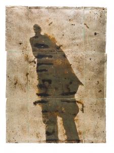 <h5>Emanation</h5><p>Oxidized silver leaf, collage, wax on paper, 52 x 38 inches, 2014Oxidized silver leaf, collage, wax on paper, 52 x 38 inches, 2014</p>