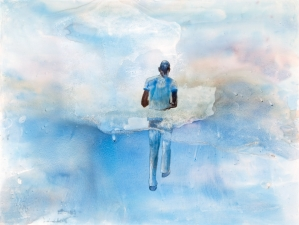 <h5>Walking on Clouds</h5><p>Watercolor on Yupo, 17 x 23 inches, 2010																																																			</p>