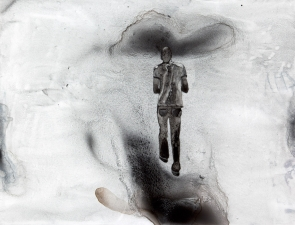<h5>Walking on Black Clouds</h5><p>Lithographic Tusche on Yupo, 17 x 23 inches, 2010																																																			</p>