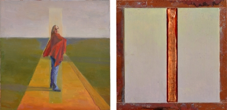 <h5>Hot (front & back)</h5><p>Oil and copper on double-sided panel, 10 x 10 inches, 2007</p>
