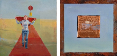 <h5>Semaphore (front & back)</h5><p>Oil and copper on double-sided panel, 10 x 10 inches, 2007</p>