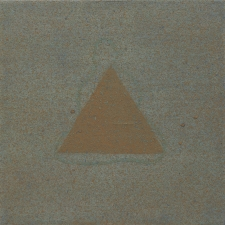 <h5>14_Goold Triangle Blue Line Buddha</h5><p>Mineral pigments on paper on panel, 6 x 6 inches, 2020																																																																				</p>