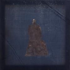 <h5>Night Sky</h5><p>Oxidized silver leaf, wax on recycled kimono silk, 10 x 10 inches, 2016</p>