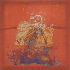 <h5>Raiment</h5><p>Oxidized silver leaf, wax on recycled kimono silk_10 x 10 inches_2016</p>