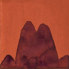<h5>18_Purple Mountains Orange Ground</h5><p>Mineral pigments on paper on panel, 6 x 6 inches, 2018 copy																																																																				</p>