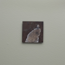 <h5>Ghosts Installation: Spotted Ghost</h5><p>Oxidation, wax on sheet silver (2.5 x 2.5 inches) on painted wall frame (8 x 8 inches), Jeffrey Thomas Fine Art and Augen Gallery, Portland, OR, 2016 2016</p>