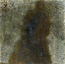 <h5>Galaxy Ghost</h5><p>Oxidation, wax on sheet silver, 2.5 x 2.5 inches, 2017</p>