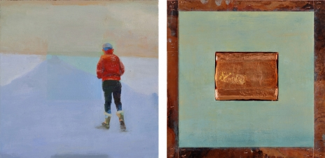 <h5>Blue Path (front & back)</h5><p>Oil and copper on double-sided panel, 10 x 10 inches, 2007</p>