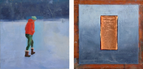 <h5>Cool (front & back)</h5><p>Oil and copper on double-sided panel, 10 x 10 inches, 2007</p>