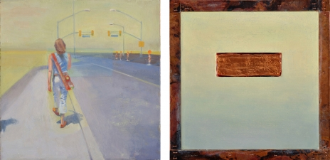<h5>Signals (front & back)</h5><p>Oil and copper on double-sided panel, 10 x 10 inches, 2007																																																			</p>