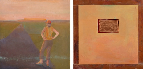 <h5>Sighting (front & back)</h5><p>Oil and copper on double-sided panel, 10 x 10 inches, 2007</p>