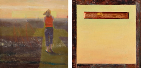 <h5>Warm (front & back)</h5><p>Oil and copper on double-sided panel, 10 x 10 inches, 2007</p>