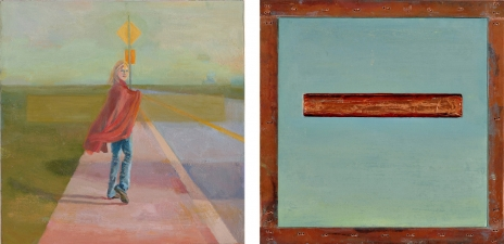 <h5>Signs (front & back)</h5><p>Oil and copper on double-sided panel, 10 x 10 inches, 2007</p>