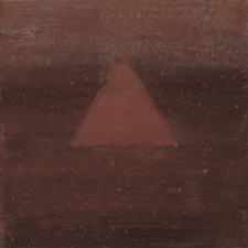 <h5>9_Rust Triangle  </h5><p>Mineral pigments on paper on panel, 6 x 6 inches, 2020																																																																				</p>