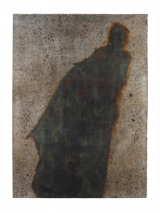 <h5>Blue Apparition</h5><p>Oxidized silver leaf, wax on paper, 38 x 24 inches, 2017</p>