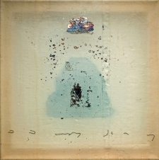 <h5>Blue Mountain, Silver Cloud</h5><p>Oxidized silver leaf, oil, thread, wax on recycled kimono silk, 10 x 10 inches, 2015</p>