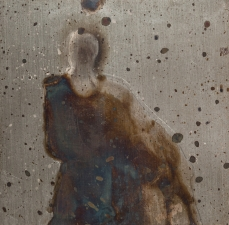 <h5>Clothed Ghost</h5><p>Oxidation, wax on sheet silver, 2.5 x 2.5 inches, 2015</p>