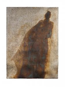 <h5>Desideratum</h5><p>Oxidized silver leaf, wax on paper, 32 x 24 inches, 2017</p>