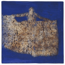 <h5>Spreading Night Sky</h5><p>Oxidized Japanese silver leaf, mineral pigments on paper on panel, 6 x 6 inches, 2020</p>