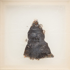 <h5>Everything Remains</h5><p>Oxidized silver leaf, wax on silk, 10 x 10 inches, 2015</p>