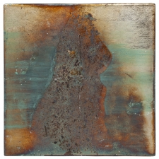 <h5>Eiko Forming</h5><p>Oxidized Japanese silver leaf, mineral pigments on paper on panel, 6 x 6 inches, 2020</p>