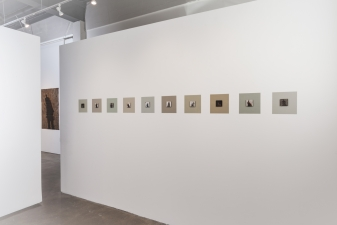 """<h5>Visions and Revisions </h5><p>""""Ghosts,"""" installation in """"Visions and Revisions,"""" ten oxidized sheet silver paintings on wall-painted frames, Jeffrey Thomas Fine Art, Portland, OR 2016</p>"""