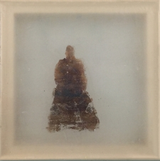 <h5>Immanence</h5><p>Oxidized silver leaf, wax on silk, 10 x 10 inches, 2015</p>