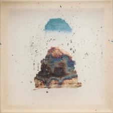 <h5>Blue Cloud, Silver Mountain</h5><p>Oxidized silver leaf, oil, wax on silk, 10 x 10 inches, 2015</p>