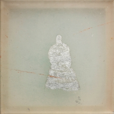 <h5>Silver Ghost With Red Lines</h5><p>Oxidized silver leaf, oil, wax on silk, 10 x 10 inches, 2015</p>