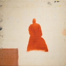 <h5>Red Ghost With Signs</h5><p>Oil, wax on recycled kimono silk on panel , 10 x 10 inches, 2015</p>