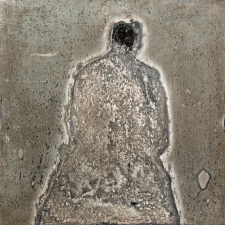 <h5>Thinking Ghost</h5><p>Oxidation, wax on sheet silver, 2.5 x 2.5 inches, 2015</p>